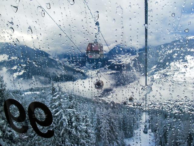 skiing in the rain